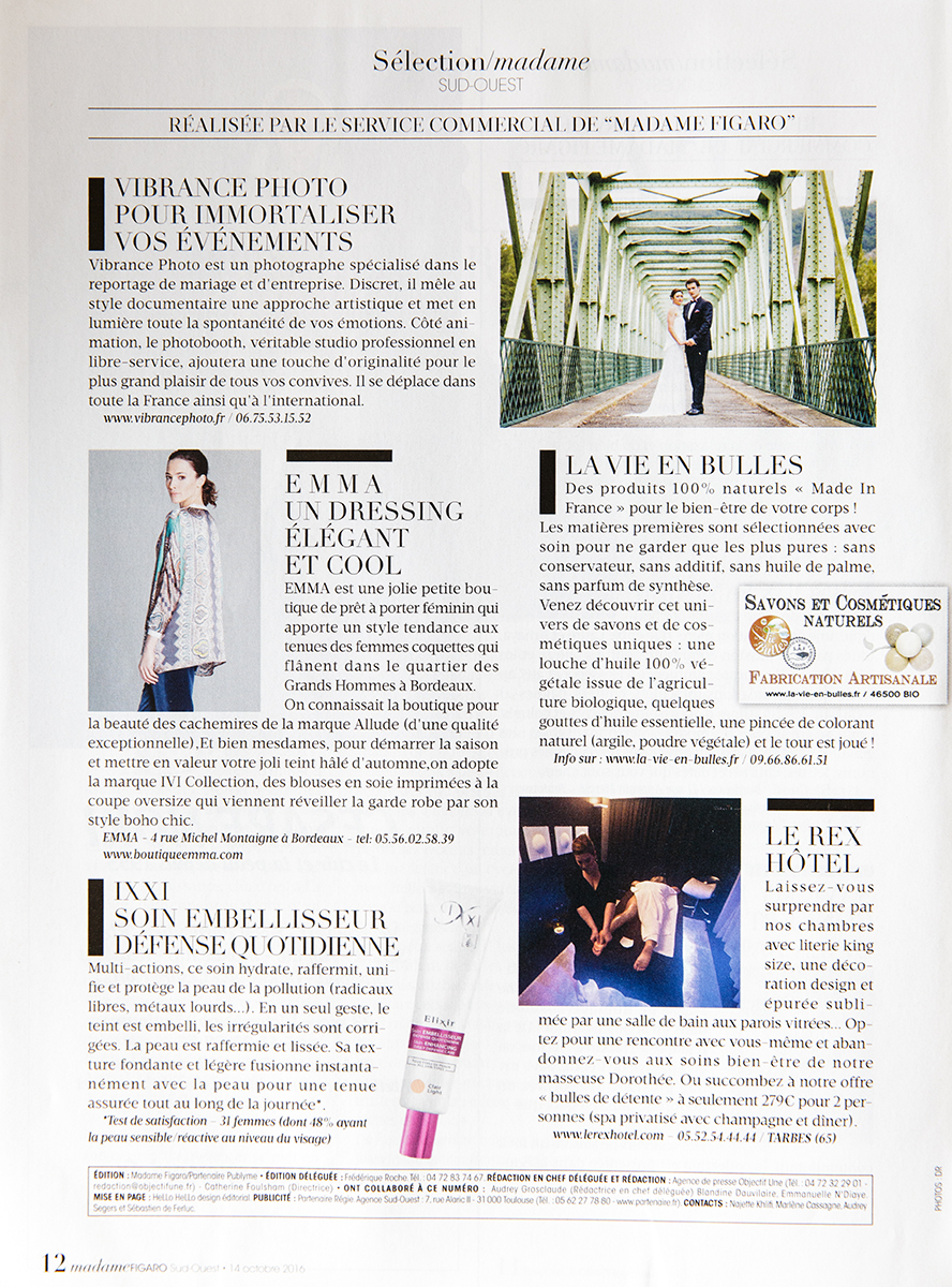 publicite article figaro madame photographe mariage