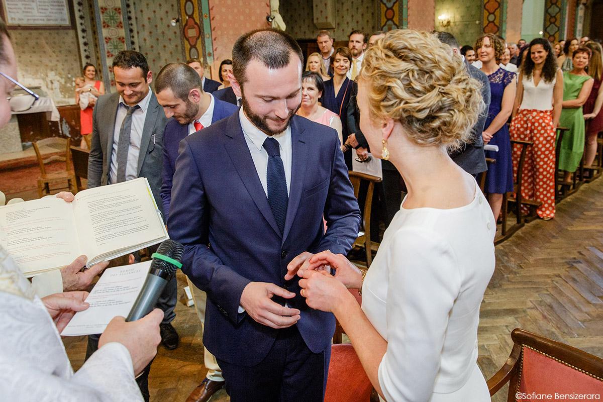 Mariage de Jane & Pierre au Château du Croisillat 42 echange alliance eglise
