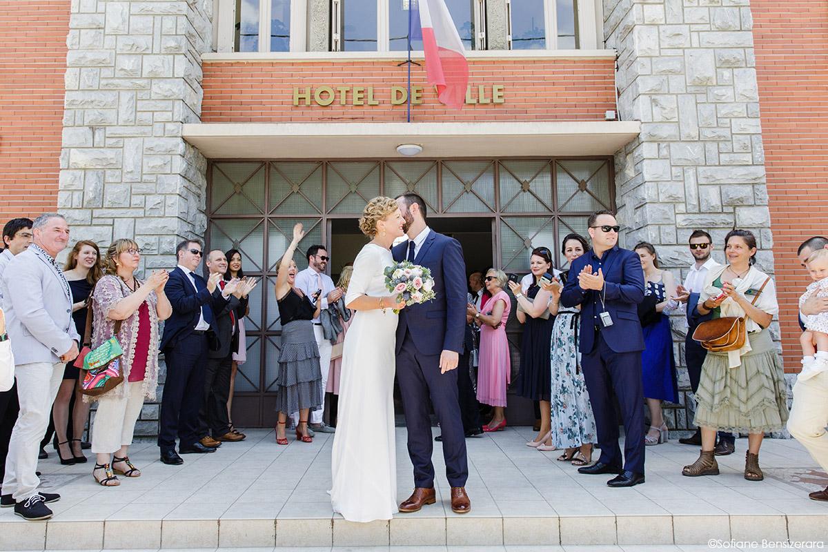 Mariage de Jane & Pierre au Château du Croisillat 31 sortie mairie photo