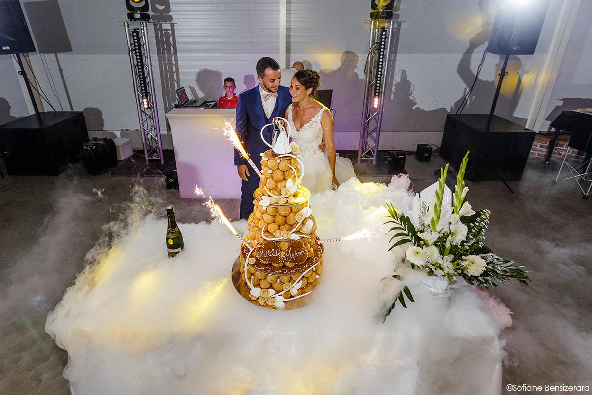 Mariage de Mathilde & Alexandre au Miroir des Lys 68 coupe gateau mariage